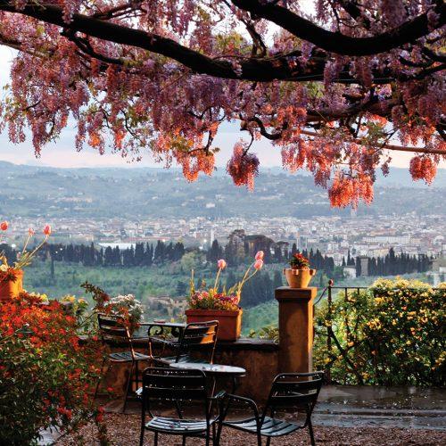 terrasse panoramique Pensione Bencistà, belvedere Firenze e collina di Fiesole