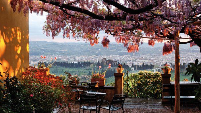 Terrazza Pensione Bencistà, belvedere Firenze e collina di Fiesole
